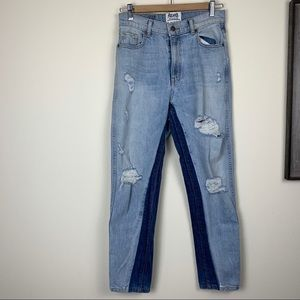 Revice High Rise Distressed Denim Jeans Two Tone